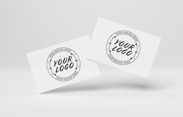 2 floating business cards on white mockup