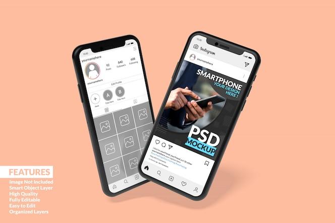 カスタマイズ可能な高品質の2つのスマートフォンモックアップでinstagram投稿テンプレートプレミアムを表示