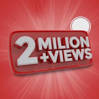 200万人の加入者3dレンダリング