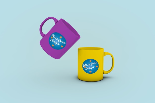 2 nice coffee mugs mockup
