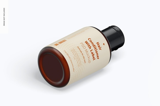 2 oz hair conditioner with label mockup, isometric left view