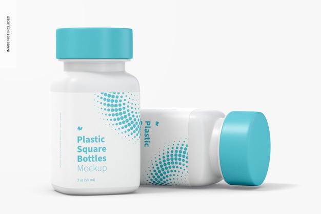 2オンスのプラスチック製の四角いボトルのモックアップ、ドロップ