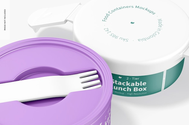 2-tier stackable lunch box mockup, 클로즈업