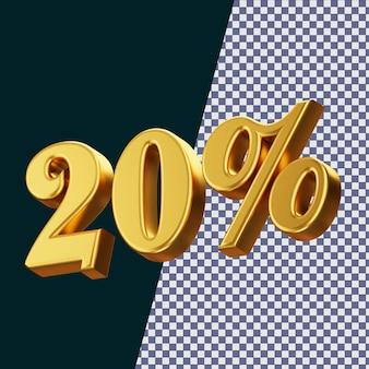 Знак 20 процентов 3d-рендеринга изолированные