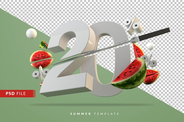 20 percent and sliced watermelon fruit rendering