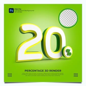 20% 3d 렌더링 녹색노란색 요소가 있는 흰색 색상
