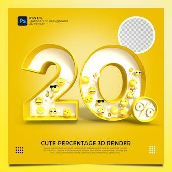 20% 3d 요소가 있는 노란색 렌더링