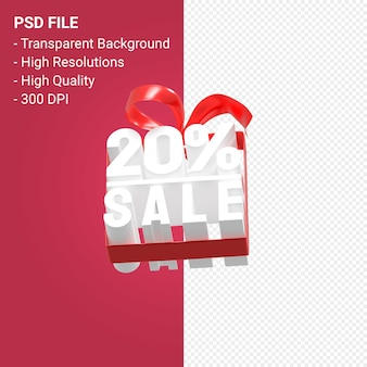 Продажа 20 процентов с бантом и лентой 3d дизайн изолированы