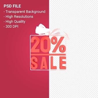 Распродажа 20% с бантом и лентой 3d-дизайн на изолированном фоне