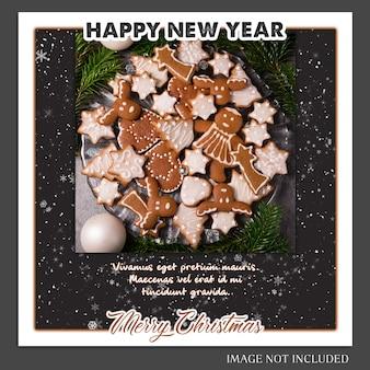 Рождества и счастливого нового года 2019 макет фото и instagram post template