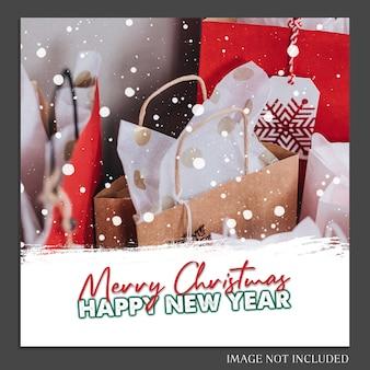 Рождество и новый год 2019 фото макет и шаблон шаблона instagram для социальных медиа
