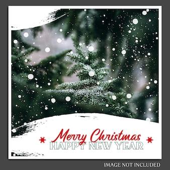 クリスマスと新年あけましておめでとうございます2019ソーシャルメディアのためのフォトモックアップとinstagram投稿テンプレート