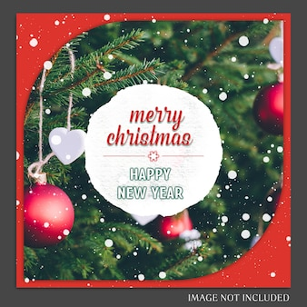 クリスマスと新年あけましておめでとうございます2019写真のモックアップとinstagramポストテンプレート