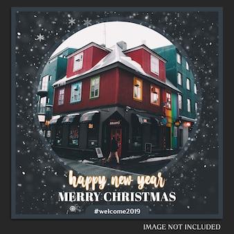 Рождества и нового года 2019 макет фотографий и пост в instagram