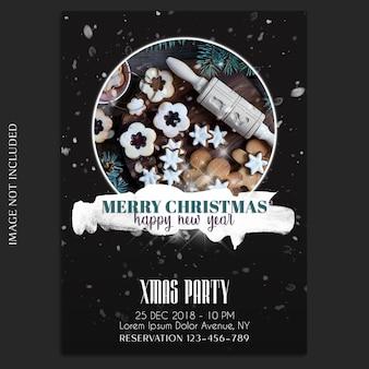 С рождеством и новым годом 2019 фотомодель и пригласительный билет или шаблон флаера