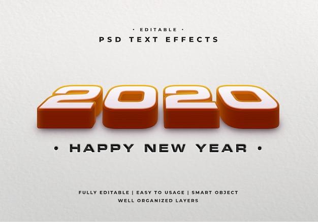 2020 3d текстовый стиль эффект макет