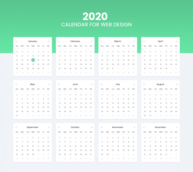2020 calendar ui kit for website ui design