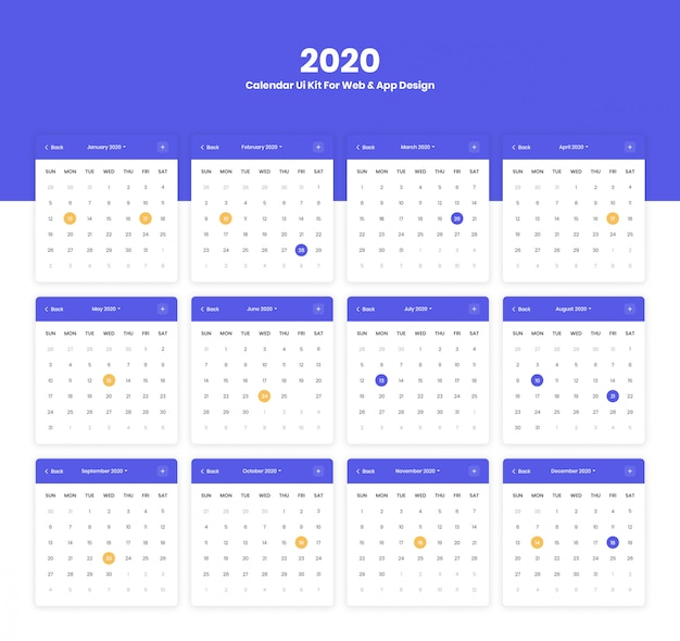 2020 calendar ui for web and mobile app design project