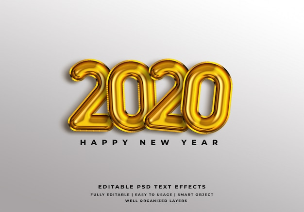 2020 happy new year text style effect mockup