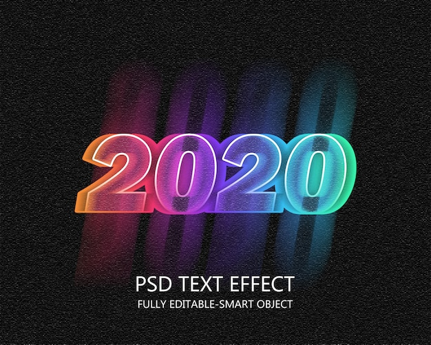 2020 neon text effect