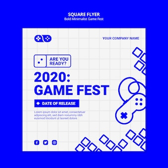 2020 video games jam fest square flyer template