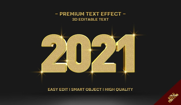 Шаблон эффекта стиля текста 3d gold 2021