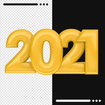 2021 happy new year in 3d rendering