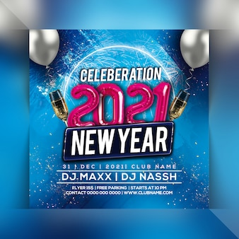2021 new year celebration party flyer