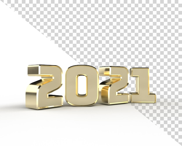 2021 새해 골드 3d 렌더링 알파벳 고립 된 개체