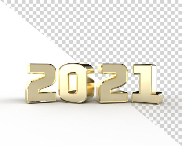 2021 새해 골드 3d 렌더링 알파벳 절연