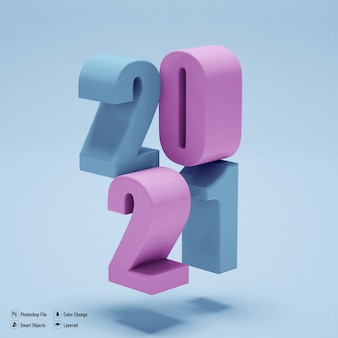 2021 numbers mockup isolated for happy new year isolated
