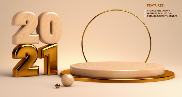2021 wood and gold podium for product presentation in 3d rendering