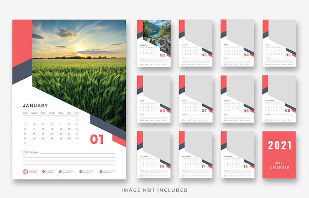 2021壁掛けカレンダー印刷準備テンプレートデザイン