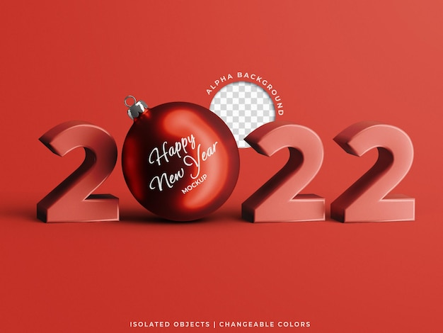 2022 new year 3d text with christmas ball toy mockup holiday concept scene creator isolated