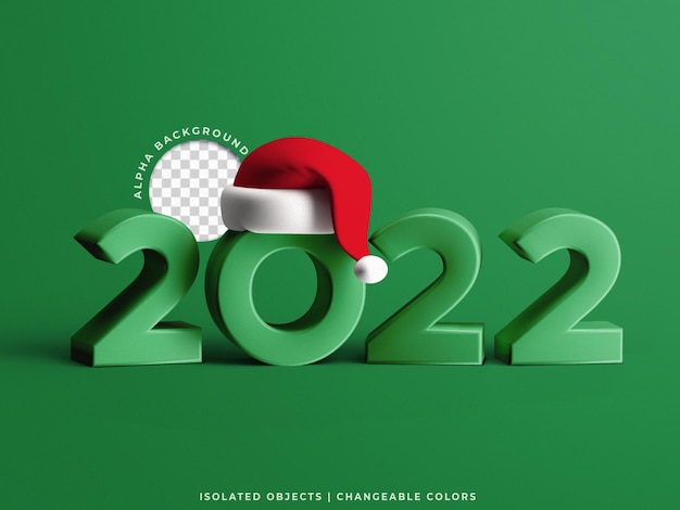 2022 new year 3d text with christmas hat mockup holiday concept scene creator isolated