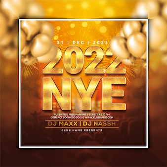 2022 new year party flyer template