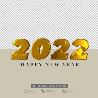 2022 text happy new year gold 3d render