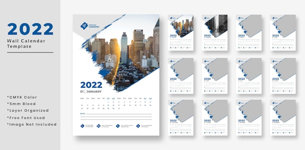 2022 wall calendar template design