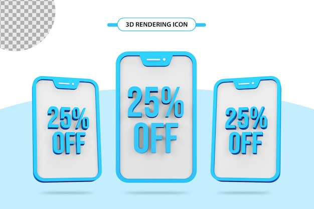 25 percent off offer 3d rendering icon