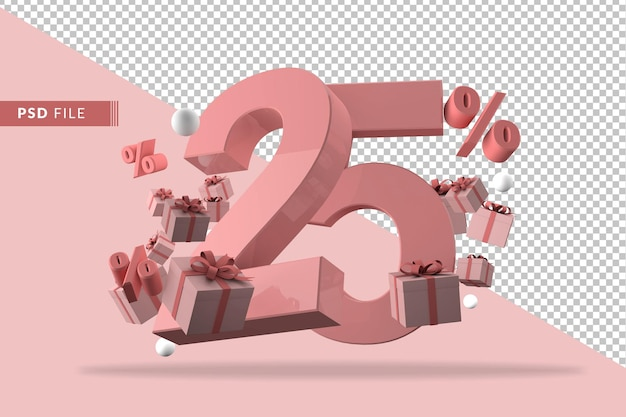 25 percent off promotion 3d rendering isolated