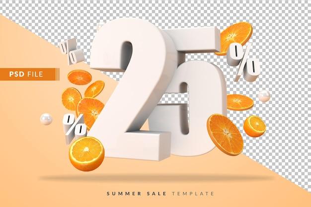 3dレンダリングでカットオレンジを使用した25%のサマーセールコンセプト