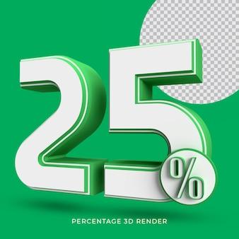 25 percentage 3d render green color