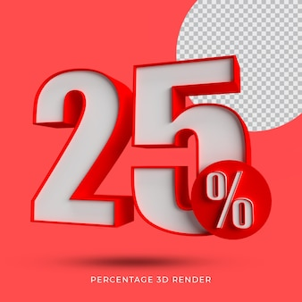 25 percentage 3d render