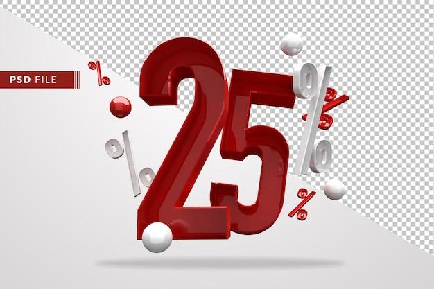 Знак процента 25 процентов 3d номер красный, шаблон файла psd