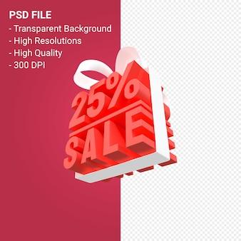 25-процентная распродажа с бантом и лентой 3d-дизайн изолированы