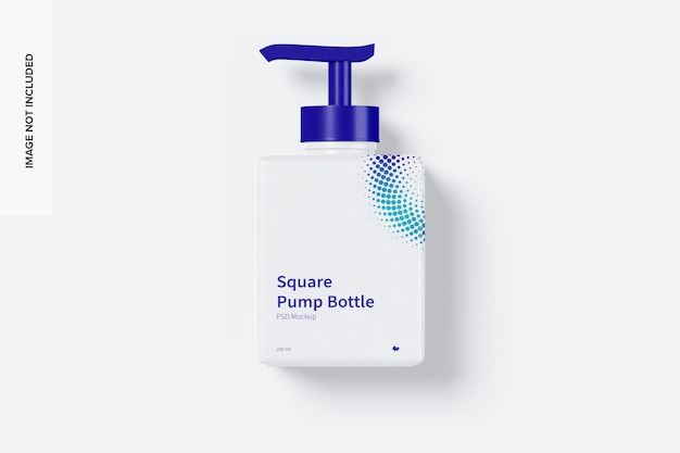 Мокап бутылки квадратного насоса 250 мл