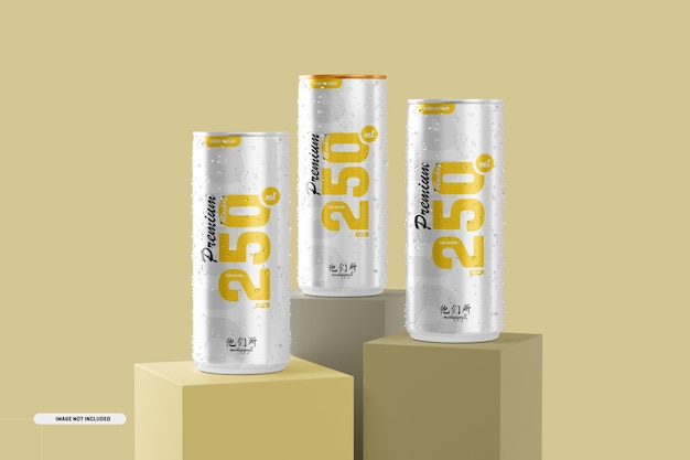 Mockup di lattine di soda da 250 ml