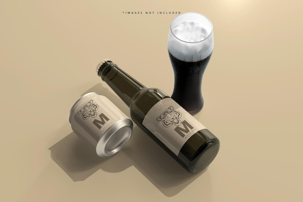 250ml stubby soda or beer can and bottle mockup