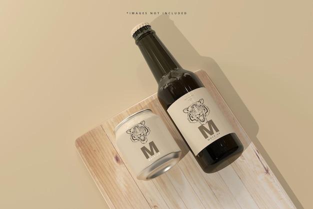 Mockup di bottiglia e lattina di birra da 250 ml