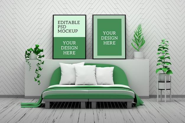 寝室で2つの空の空白の図枠の